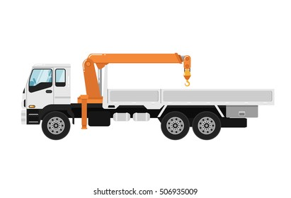 Commercial truck crane on white background. Modern mobile hydraulic crane car. Vehicle crane for cargo transportation service.