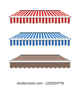 Commercial Vector Awning Series. Shop, Cafe, or Restaurant Symbol. Striped and Monochrome Awnings Isolated on White Background. Design Elements Set.
