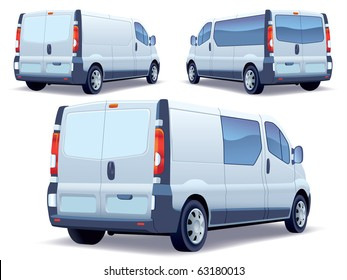 Commercial vehicle - delivery van on white background.