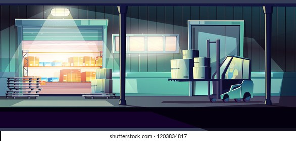 Commercial warehouse cartoon vector with worker carrying cargo with forklift truck through opened storehouse gates illustration. Working at night shift, overtime work, 24-hour delivery service concept