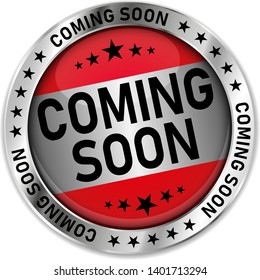 comming soon silver round web medal badge icon
