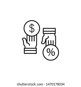Commission percent dollar hands icon. Element of business motivation line icon