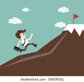 Commitment concept - Businessman climbing on the mountain