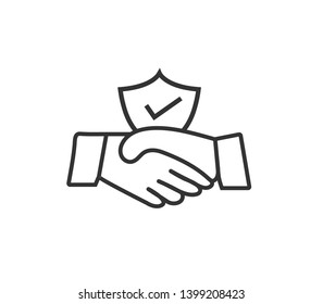 commitment trust partnership meeting deal agreement business icon simple vector illustration success