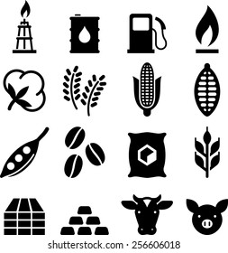 Commodities trading icons