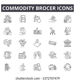 Commodity brocer line icons, signs, vector set, outline illustration concept