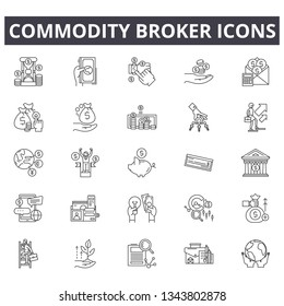 Commodity broker line icons for web and mobile design. Editable stroke signs. Commodity broker  outline concept illustrations