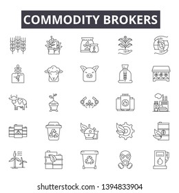 Commodity brokers line icon signs. Linear vector outline illustration set concept.