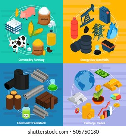 Commodity concept icons set with commodity farming and raw materials symbols isometric isolated vector illustration
