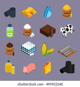 Commodity icons set with milk corn and gold symbols isometric isolated vector illustration