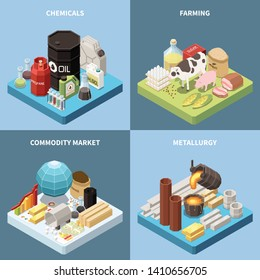 Commodity isometric 2x2 design concept with compositions of manufactured products and industrial goods images with text vector illustration