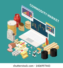 Commodity isometric composition with images of laptop with graphs and various objects related to different industries vector illustration