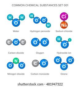 Common chemical substances molecular structure set