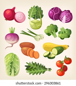 Common and exotic grocery, garden and field vegetables. Icons for labels and packages or for kid's education.