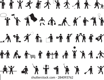 Common pictogram people activities isolated on white