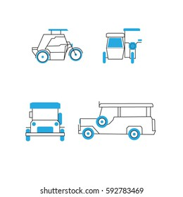 Common Public Transportation in the Philippines - Jeepney, Tricycle Icons