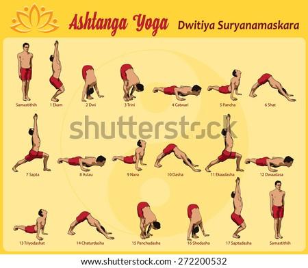 common sequence asanas practice yoga surya stock vector