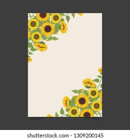 Common size of floral greeting card and invitation template for wedding or birthday anniversary, Vector shape of text box label and frame, Yellow sunflowers wreath ivy style with branch and leaves.