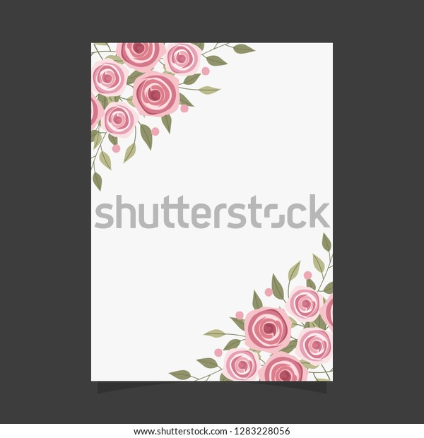 Common Size Floral Greeting Card Invitation Stock Vector