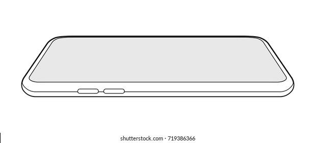 common smartphone mock illustration (side / outline)