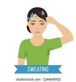 Common symptom of panic disorder - sweating. Vector