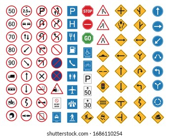 common traffic sign icon set flat design, safety transportation vector illustration