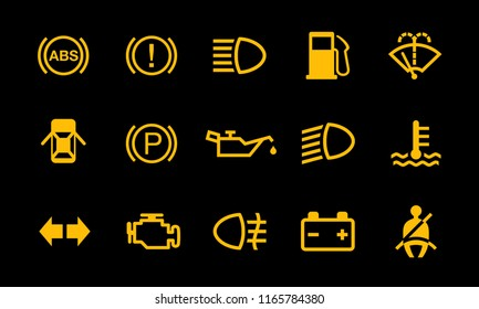 Common vehicle car dashboard alert warning sign indicator symbols for safety driving and riding