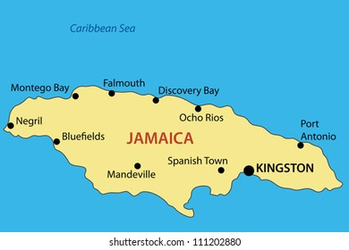 Commonwealth of Jamaica - vector map