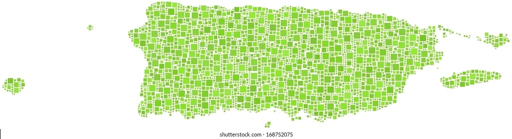 Commonwealth of Puerto Rico in a mosaic of green squares.  A number of 2631 little squares are accurately inserted into the mosaic. White background.