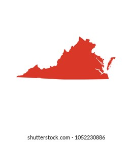 Commonwealth of Virginia vector map silhouette. VA state shape icon. Outline contour map of Virginia.