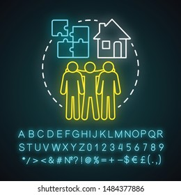 Communal living neon light concept icon. Cohousing arrangement idea. Living in common place. Collective household. Glowing sign with alphabet, numbers and symbols. Vector isolated illustration