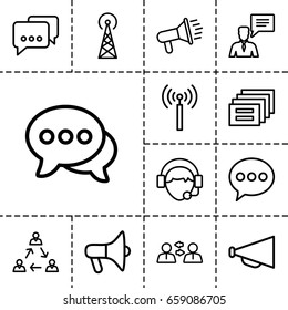 Communicate icon. set of 13 outline communicateicons such as signal tower, megaphone, chat, man with chat bubblle, operator, communication