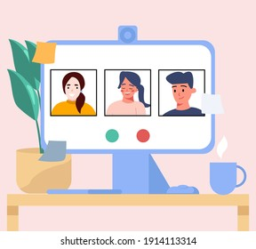 Communicates with a friends online using a computer. Remote communication on isolation. Remote work via a web camera.