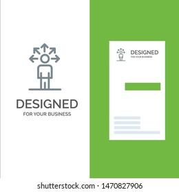 Communication, Abilities, Connection, Human Grey Logo Design and Business Card Template. Vector Icon Template background