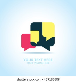 Communication abstract logo, design concept, emblem, logotype element for template.