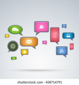 Communication application in bubbles background