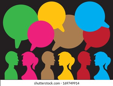 Communication between the two sexes with speech bubble with own area for text.