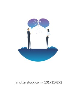 Communication breakdown business vector concept with businessman and businesswoman arguing. Symbol of argument, discussion, different opinions, negotiation and conversation. Eps10 vector illustration.
