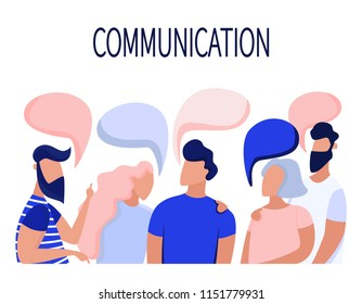 Communication of business people, friends. Dialogue speech bubbles, discuss. Flat illustration.