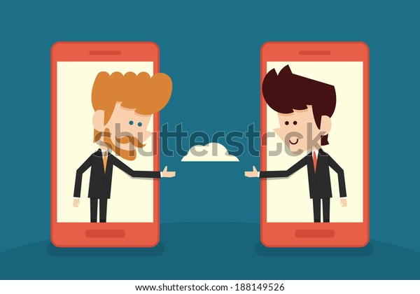 communication of businessman flat cartoon. vector