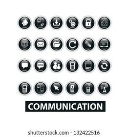 communication buttons set, vector