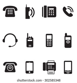 communication, call, phone vintage, retro telephone Vector Illustration Set