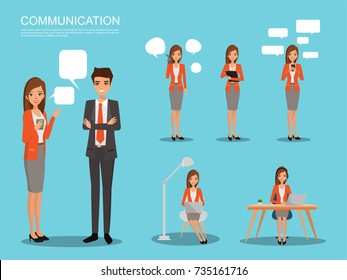 communication character set different pose. business woman with technology infographic.