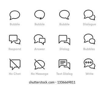 Communication and Chat Editable Thin Line Icons.