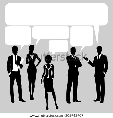 Communication chat forum backgrounds with  business people silhouette and speech bubbles vector illustration