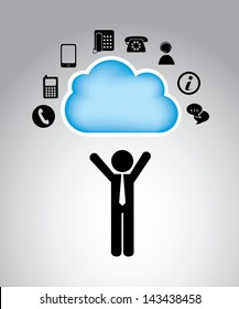 communication cloud over gray background vector illustration