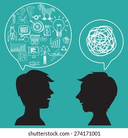 Communication concept with business doodles in speech bubble.