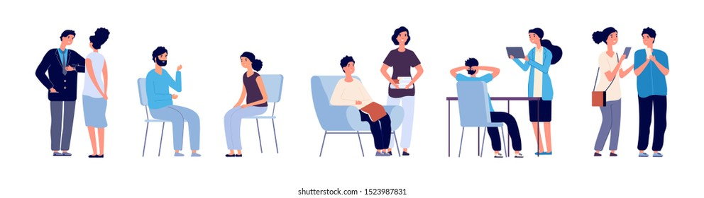 Communication concept. Conference people. Vector flat characters, discussing persons with phone, books, tablets