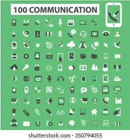 Communication concept, connect,  business talking, connection, technology, mobile icons, signs vector set