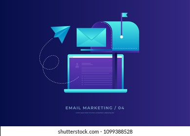 Communication concept, information dissemination, sending email. Open laptop, mailbox, paper airplane and envelope on blue background. Communication, information dissemination. Vector illustration.